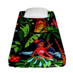 Hawaiian Girls Black Flower Floral Summer Fitted Sheet (single Size) by Mariart