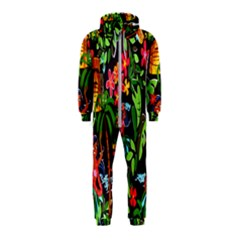 Hawaiian Girls Black Flower Floral Summer Hooded Jumpsuit (kids) by Mariart