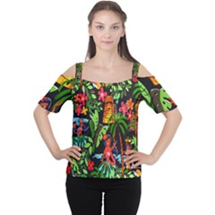 Hawaiian Girls Black Flower Floral Summer Cutout Shoulder Tee by Mariart