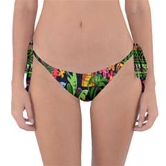 Hawaiian Girls Black Flower Floral Summer Reversible Bikini Bottom by Mariart