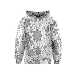 Grayscale Floral Heart Background Kids  Pullover Hoodie