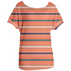 Horizontal Line Orange Women s Oversized Tee