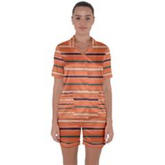 Horizontal Line Orange Satin Short Sleeve Pyjamas Set