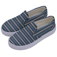 Horizontal Line Grey Blue Kids  Canvas Slip Ons by Mariart