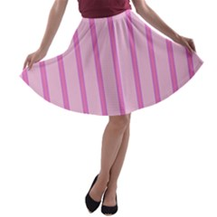 Line Pink Vertical A Line Skater Skirt by Mariart