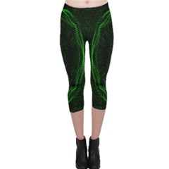 Green Foam Waves Polygon Animation Kaleida Motion Capri Leggings