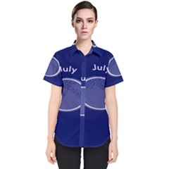 Moon July Blue Space Women s Short Sleeve Shirt by Mariart