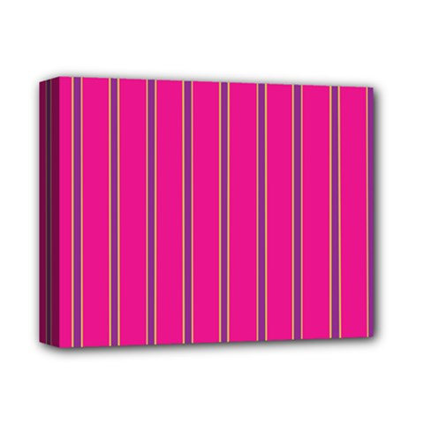 Pink Line Vertical Purple Yellow Fushia Deluxe Canvas 14  X 11  by Mariart