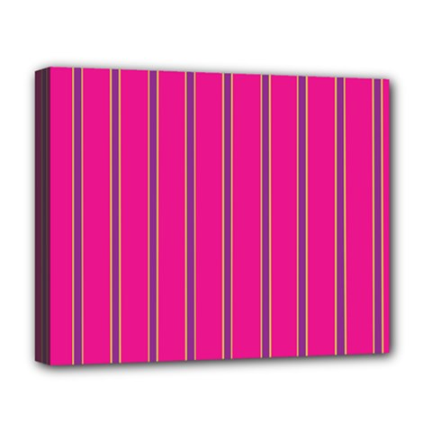 Pink Line Vertical Purple Yellow Fushia Deluxe Canvas 20  X 16   by Mariart
