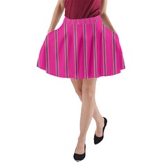 Pink Line Vertical Purple Yellow Fushia A Line Pocket Skirt by Mariart