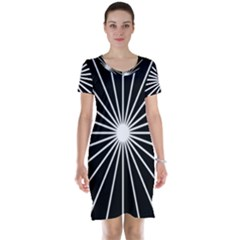 Ray White Black Line Space Short Sleeve Nightdress