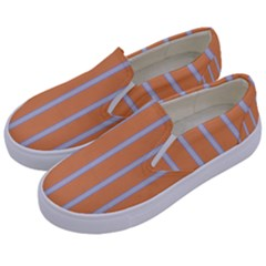 Rayures Bleu Orange Kids  Canvas Slip Ons by Mariart