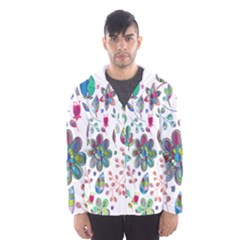 Prismatic Psychedelic Floral Heart Background Hooded Wind Breaker (men) by Mariart