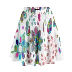 Prismatic Psychedelic Floral Heart Background High Waist Skirt by Mariart