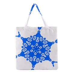 Snowflake Art Blue Cool Polka Dots Grocery Tote Bag by Mariart