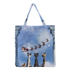 Christmas, Cute Cats Looking In The Sky To Santa Claus Grocery Tote Bag by FantasyWorld7