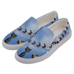 Christmas, Cute Cats Looking In The Sky To Santa Claus Men s Canvas Slip Ons by FantasyWorld7