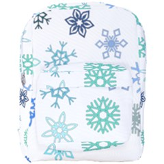 Snowflakes Blue Green Star Full Print Backpack by Mariart