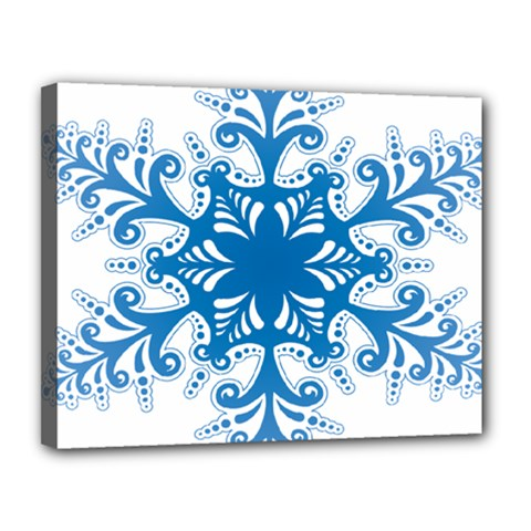 Snowflakes Blue Flower Canvas 14  X 11  by Mariart