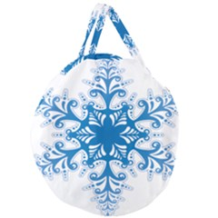 Snowflakes Blue Flower Giant Round Zipper Tote by Mariart
