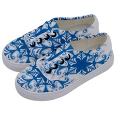 Snowflakes Blue Flower Kids  Classic Low Top Sneakers by Mariart