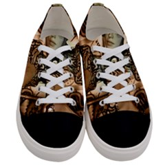 Steampunk, Steampunk Women With Clocks And Gears Women s Low Top Canvas Sneakers