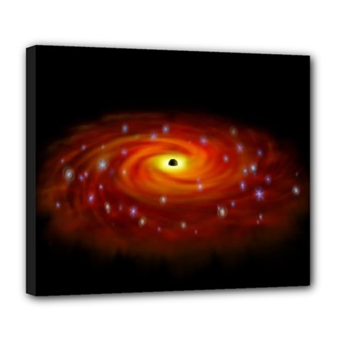 Space Galaxy Black Sun Deluxe Canvas 24  X 20   by Mariart