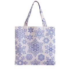 Snowflakes Blue White Cool Zipper Grocery Tote Bag by Mariart