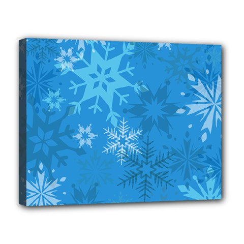 Snowflakes Cool Blue Star Canvas 14  X 11  by Mariart