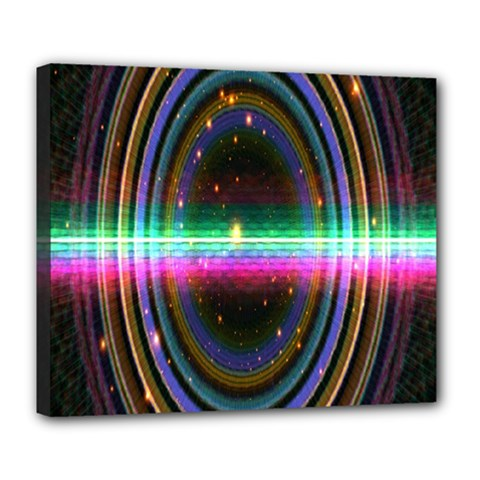 Spectrum Space Line Rainbow Hole Deluxe Canvas 24  X 20   by Mariart