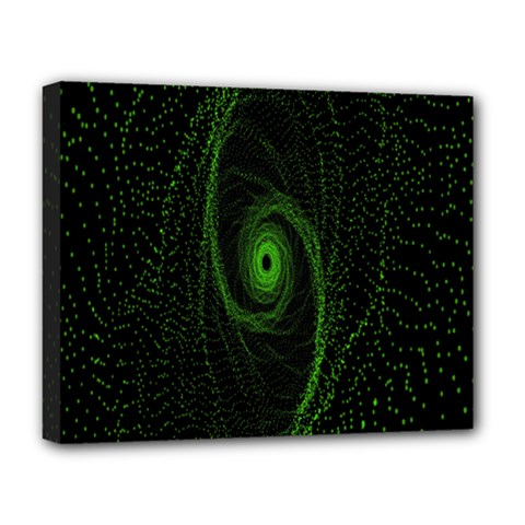 Space Green Hypnotizing Tunnel Animation Hole Polka Green Deluxe Canvas 20  X 16   by Mariart