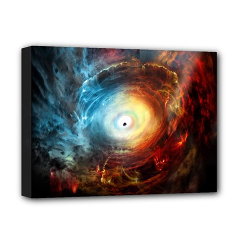 Supermassive Black Hole Galaxy Is Hidden Behind Worldwide Network Deluxe Canvas 16  X 12   by Mariart