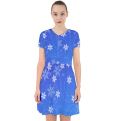 Winter Blue Snowflakes Rain Cool Adorable In Chiffon Dress