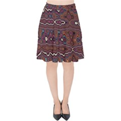 Hippy Boho Chestnut Warped Pattern Velvet High Waist Skirt by KirstenStar