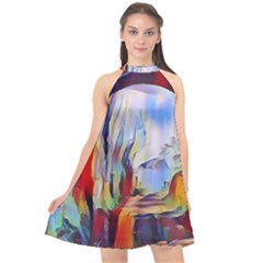 Abstract Tunnel Halter Neckline Chiffon Dress  by 8fugoso