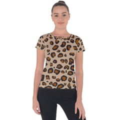 Leopard Peint Short Sleeve Sports Top  by TopitOff
