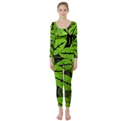 Nature Print Pattern Long Sleeve Catsuit by dflcprints