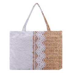 Parchement,lace And Burlap Medium Tote Bag by 8fugoso