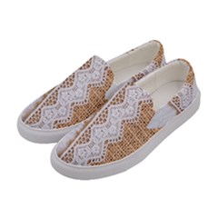 Parchement,lace And Burlap Women s Canvas Slip Ons by 8fugoso