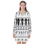 Halloween pattern Long Sleeve Chiffon Shift Dress