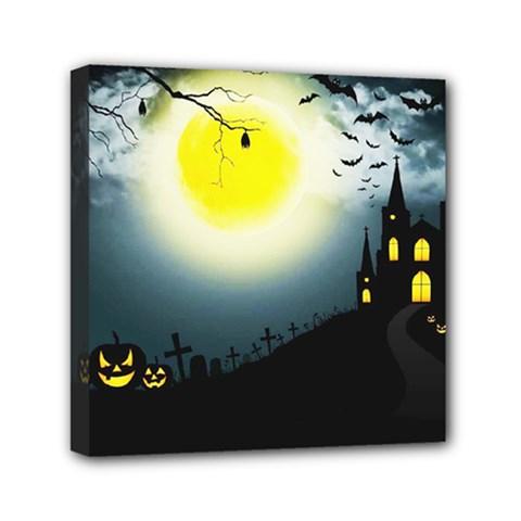 Halloween Landscape Mini Canvas 6  X 6  by ValentinaDesign