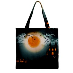 Halloween Landscape Zipper Grocery Tote Bag by ValentinaDesign