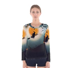 Halloween Landscape Women s Long Sleeve Tee by ValentinaDesign