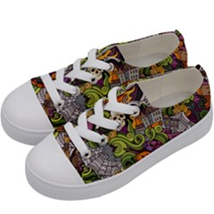 Halloween Pattern Kids  Low Top Canvas Sneakers by ValentinaDesign