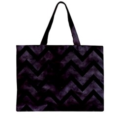 Chevron9 Black Marble & Black Watercolor (r) Zipper Mini Tote Bag by trendistuff