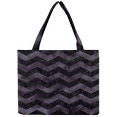 Chevron3 Black Marble & Black Watercolor Mini Tote Bag by trendistuff