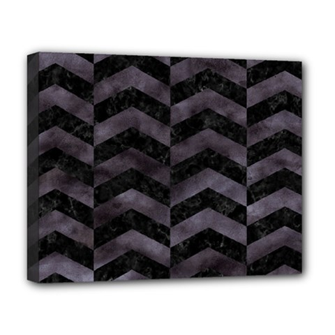 Chevron2 Black Marble & Black Watercolor Deluxe Canvas 20  X 16   by trendistuff