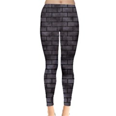 Brick1 Black Marble & Black Watercolor (r) Leggings  by trendistuff