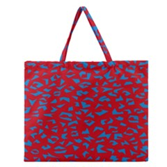 Blue Red Space Galaxy Zipper Large Tote Bag by Mariart
