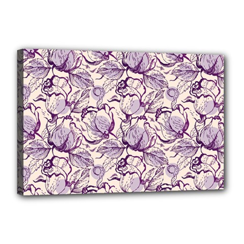 Vegetable Cabbage Purple Flower Canvas 18  X 12  by Mariart